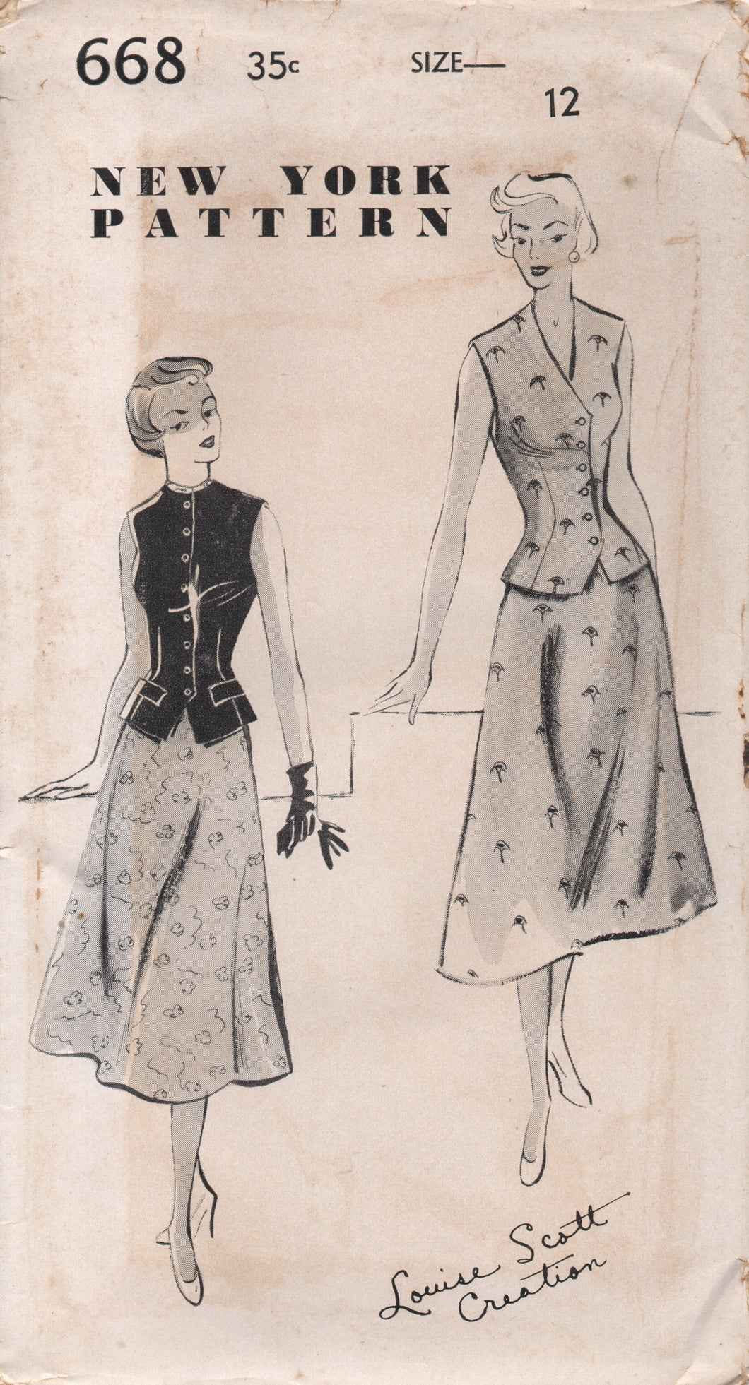 1950's New York by Louise Scott Vest in Two Necklines and A line skirt - Bust 30