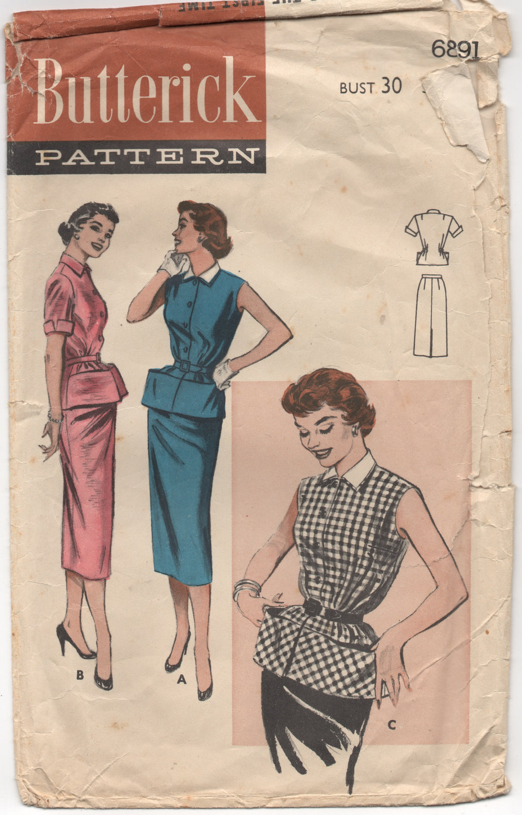 1950's Butterick Two Piece Carry-All Dress with Slim Skirt - Bust 30