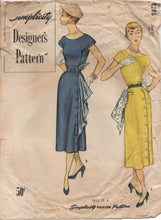 "1950's Simplicity Designer One Piece Dress with Button Up Side & Scarf- Bust 30"" - No. 8286"