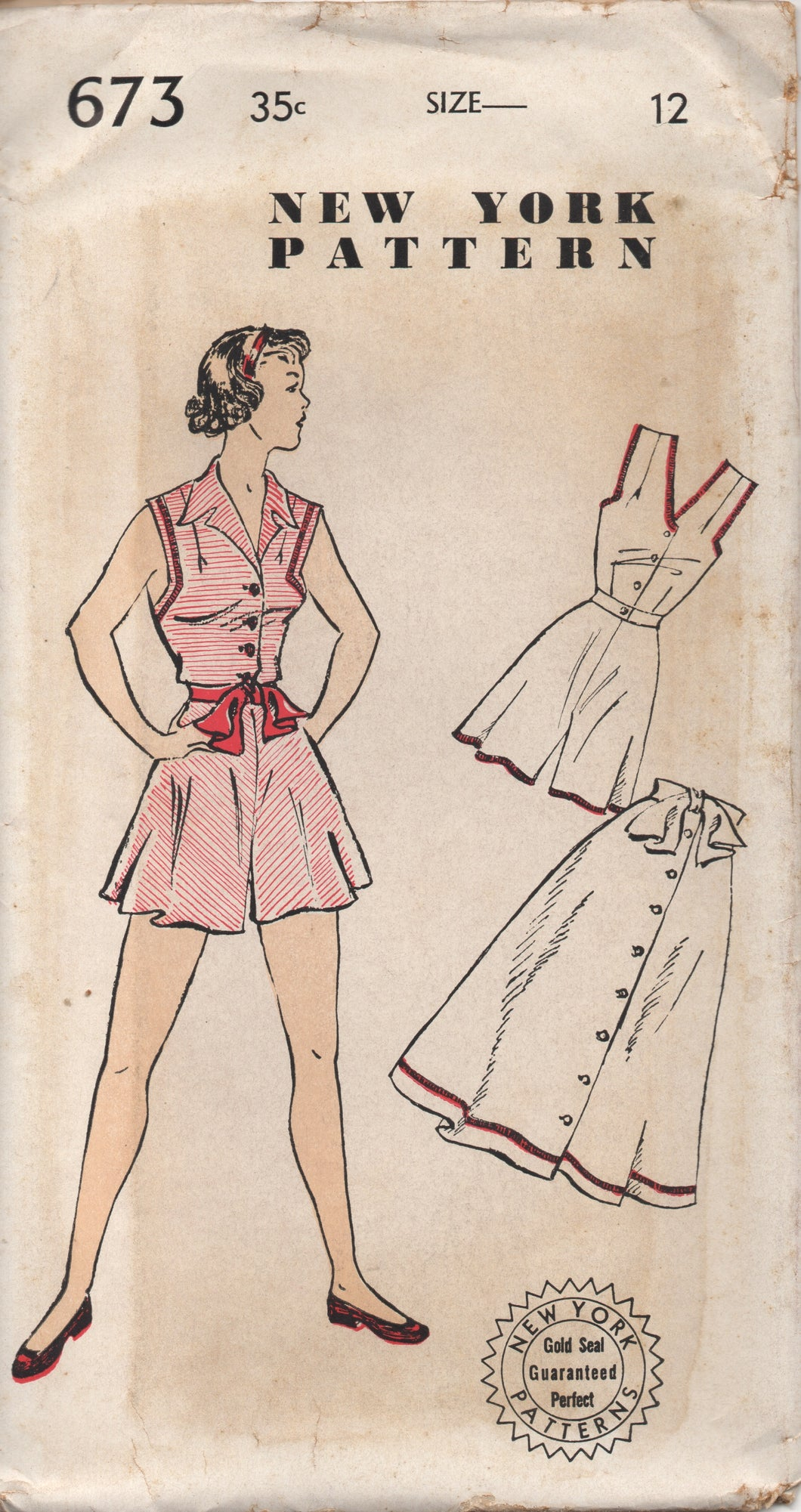 1950's New York Three Piece Playsuit with Blouse, High Waisted Shorts and Skirt - Bust 30