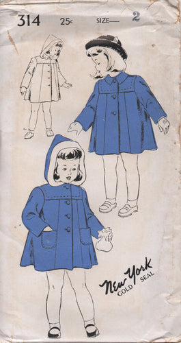 1940's New York Child's Coat with or without Hood - Chest 21