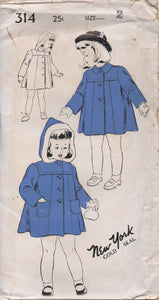 "1940's New York Child's Coat with or without Hood - Chest 21"" - UC/FF - No. 314"