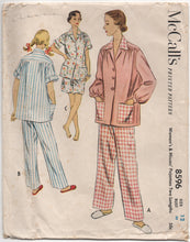 "1950's McCall's Two-Piece Pajama Set Either Shorts or Pants - Bust 30"" - No. 8596"