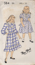"1940's New York Girl's One Piece Dress with Short or 3/4 Sleeves and High Neckline - Bust 28"" - No. 384"