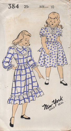 1940's New York Girl's One Piece Dress with Short or 3/4 Sleeves and High Neckline - Bust 28