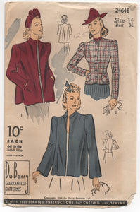 "1930's DuBarry Boxy or Tailored Jacket - Bust 32"" - No. 2464b"
