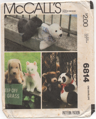 1970's McCall's Stuffed Cat, Dog, Seal, Bear and Panda - UC/FF - No. 6814