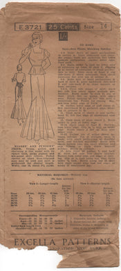 "1930's Excella One Piece Gown with Peplum and Puffed or short-flared sleeve - Bust 32"" - No. 3721"