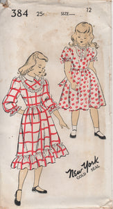 "1940's New York Girl's One Piece Dress with Short or 3/4 Sleeves and High Neckline - Bust 30"" - No. 384"