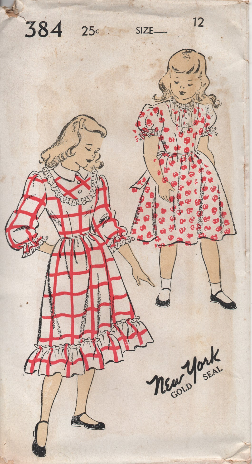 1940's New York Girl's One Piece Dress with Short or 3/4 Sleeves and High Neckline - Bust 30