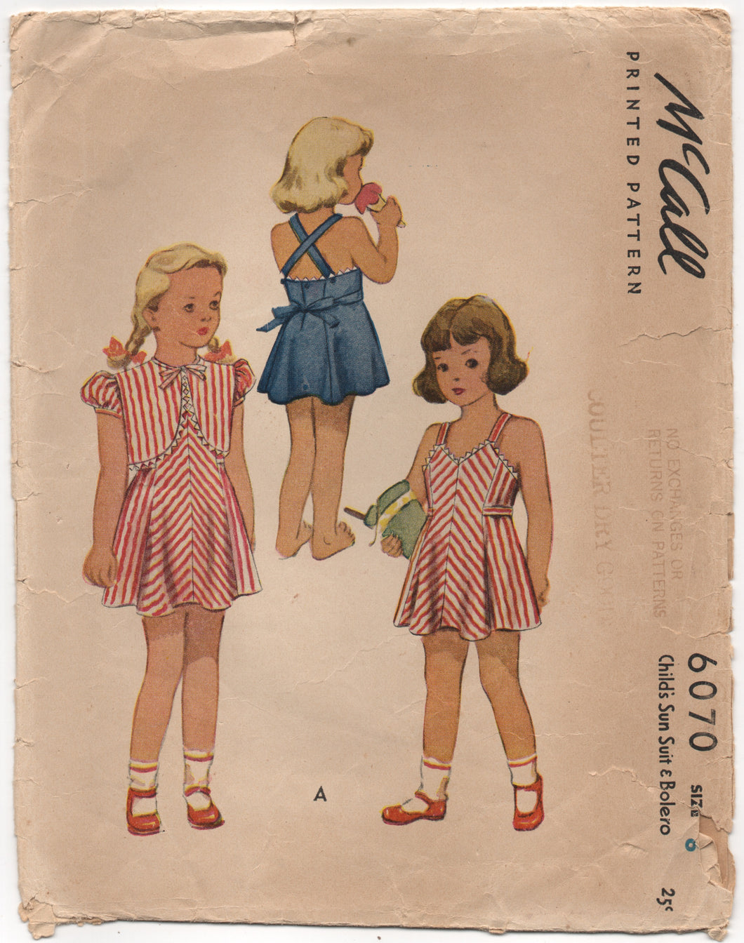 1940's McCall Girl's Sun Dress with Strappy Back and Bolero - Chest 24