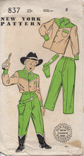 "1950's New York Boy's Western shirt, Pants and Holster Pattern - Chest 26"" - UC/FF - No. 837"