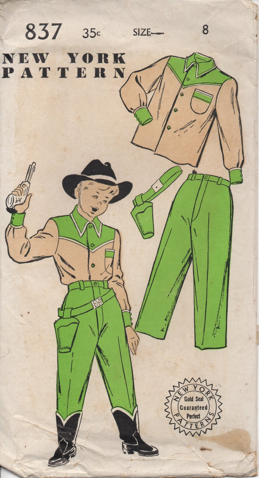 1950's New York Boy's Western shirt, Pants and Holster Pattern - Chest 26
