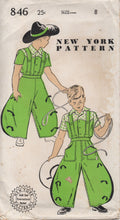 "1940's New York Boy's Western shirt and Wide Leg Pants Pattern - Chest 26"" - No. 846"