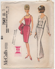 "1960's McCall's Evening or Day Gown and Double Breasted Jacket - Bust 32"" - No. 7547"