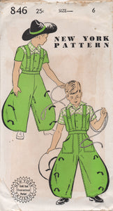 "1940's New York Boy's Western shirt and Wide Leg Pants Pattern - Chest 24"" - No. 846"