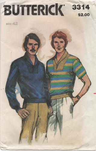 1980's Butterick Men's Top with Yoke and Waistband - Chest 42