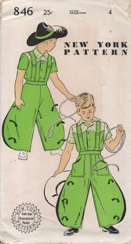 1940's New York Boy's Western shirt and Wide Leg Pants Pattern - Chest 23