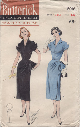 "1950's Butterick One Piece Dress with Pleated Side Drape and Cuff Short Sleeves - Bust 32"" - No. 6016"