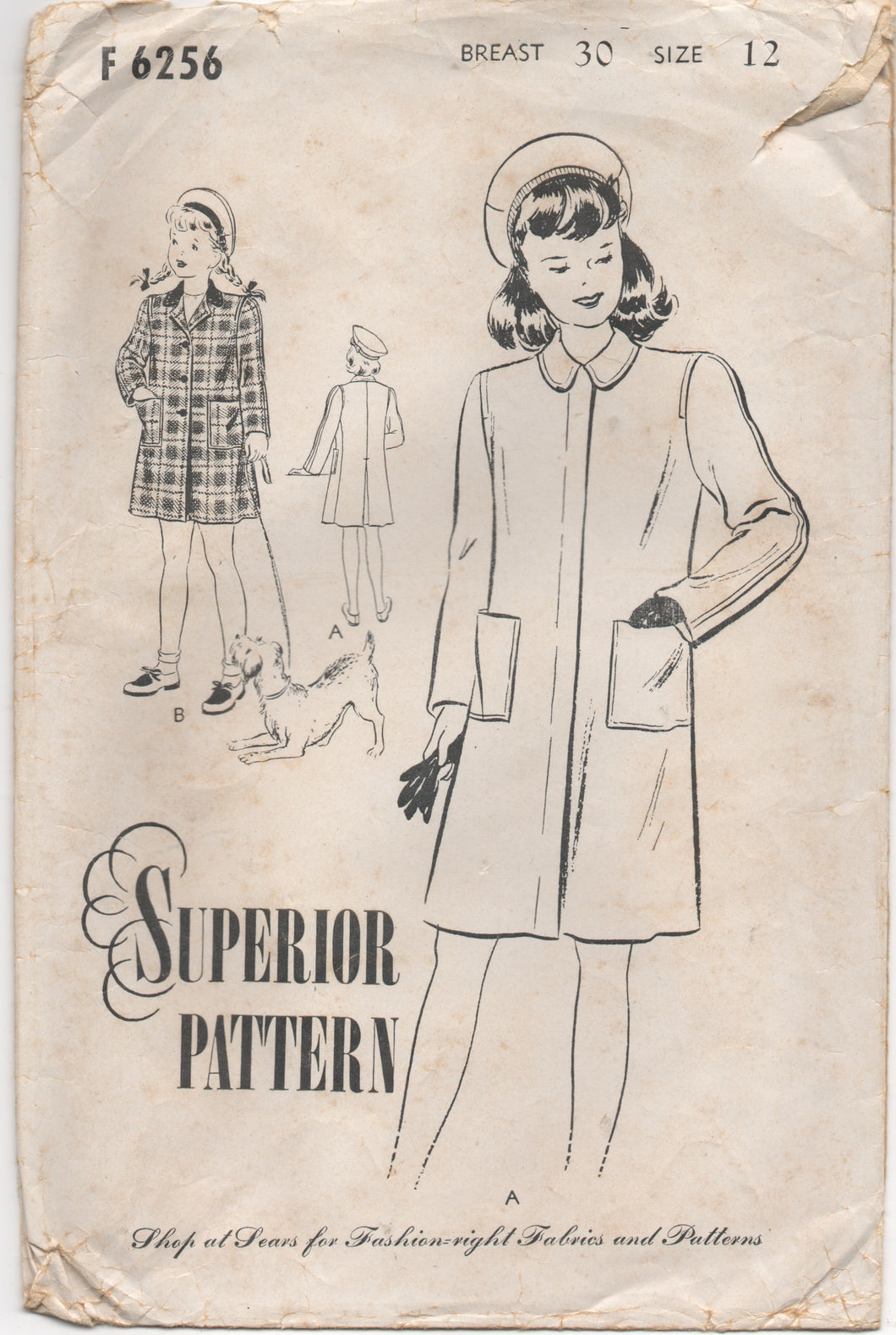 1940's Superior Girl's Coat and Beret Pattern - Bust 30