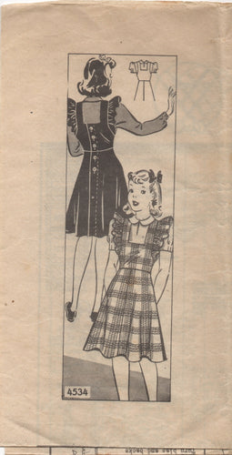 1940's Anne Adams Girl's Pinafore and Blouse - Breast 28