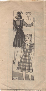 "1940's Anne Adams Girl's Pinafore and Blouse - Breast 28"" - No. 4534"