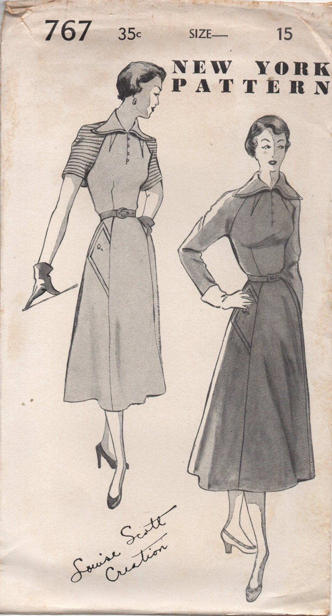 1950's New York by Louise Scott One Piece Dress with Oversize Collar, Raglan Sleeves, Pockets Pattern- Bust 33