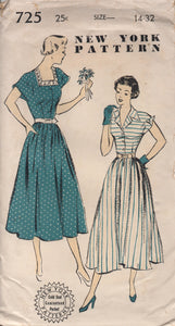 "1940's or early 50's New York One Piece Dress with Square or Collar Neckline and Turn-over Flap Cuffs - Bust 32"" - No. 725"