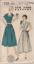 "1940's or early 50's New York One Piece Dress with Square or Collar Neckline and Turn-over Flap Cuffs - Bust 34"" - No. 725"