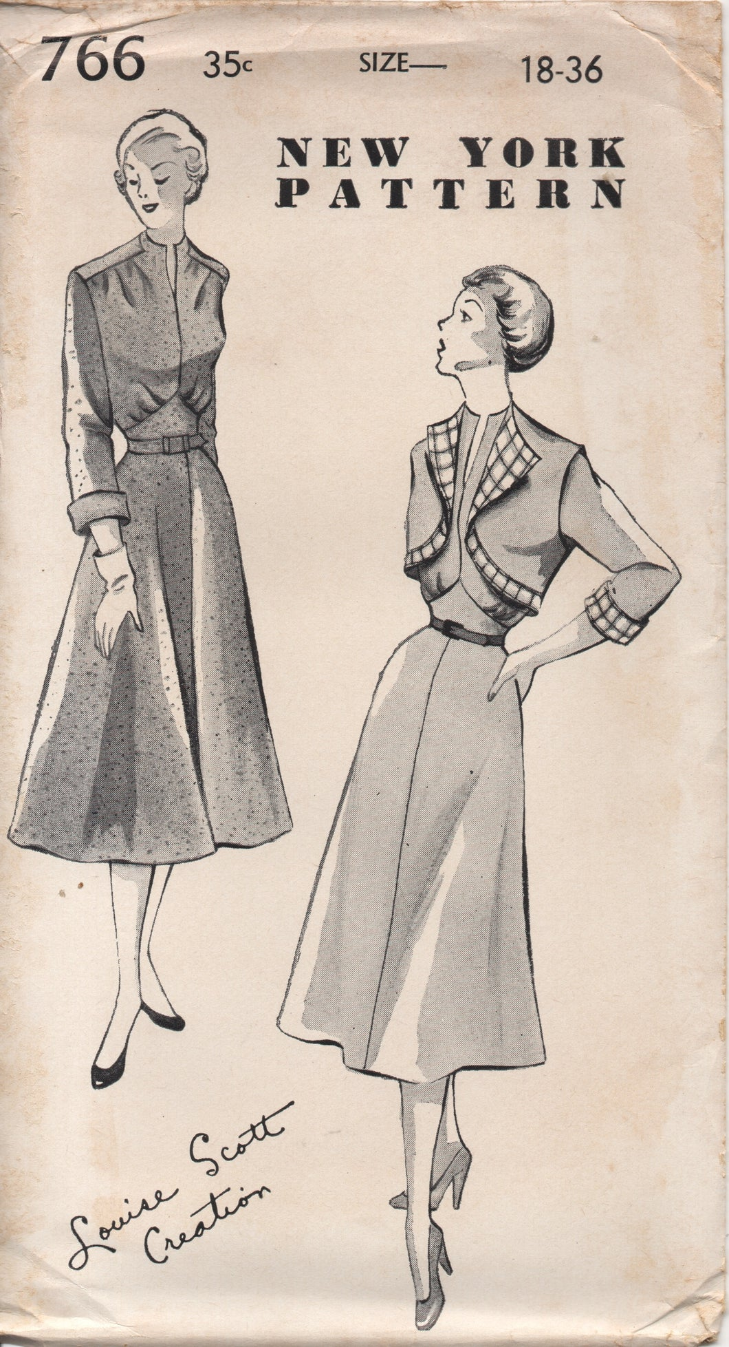 1940's New York by Louise Scott One Piece Dres with Raised Waist and Bolero with Contrast edging - Bust 36