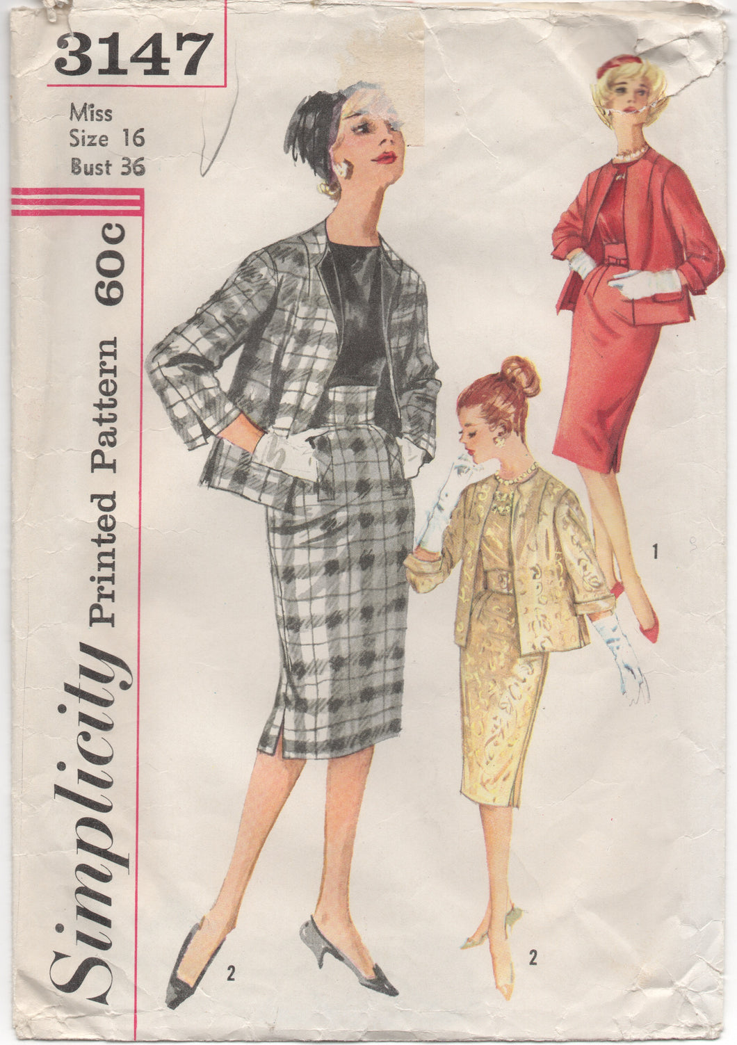 1950's Simplicity Jacket, Blouse and Slim Skirt - Bust 36