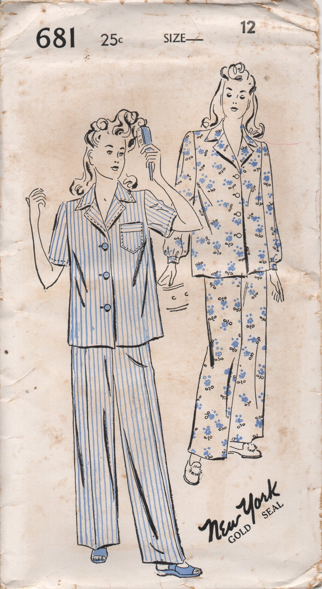 1940's New York Two Piece Pajamas with Two Sleeve styles - Bust 30