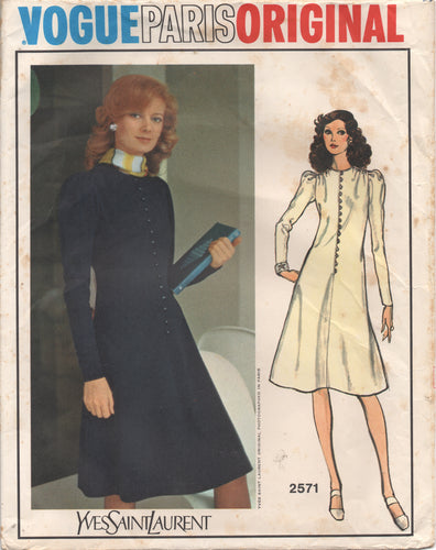 1970's Vogue Paris Original by Yves Saint Laurent One Piece Dress with Puff Long Sleeves and Button Front - Bust 31.5