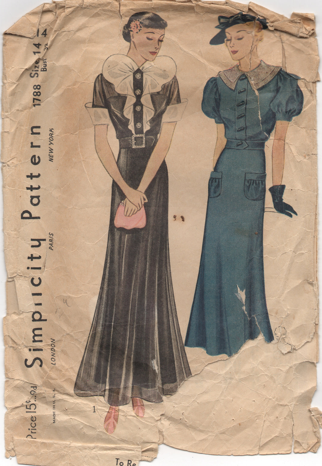 1930's Simplicity Evening Attire with Huge Butterfly Collar and Cuffs - Bust 32