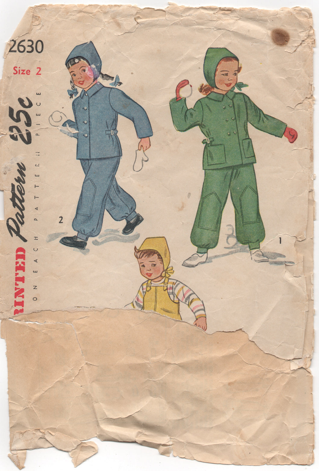 1940's Simplicity Child's Snowsuit and Helmet - 2yrs - No. 2630