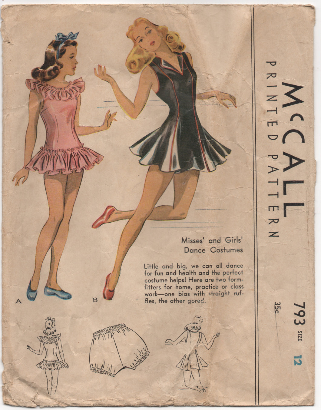1940's McCall Dance Costume with or without ruffles Pattern - Bust 30