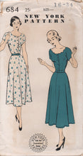 "1940's New York One Piece Dress with Bateau or Scalloped Neckline - Bust 34"" - UC/FF - No. 684"