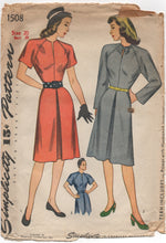 "1940's Simplicity One Piece Dress with clean lines and bow detail - Bust 38"" - No. 1508"