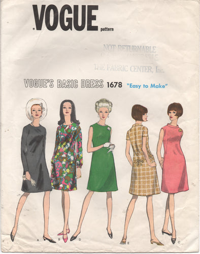 1960's Vogue Basic Design Shift Dress with 3 Sleeve Lengths - Bust 32