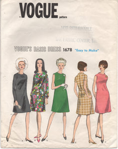 "1960's Vogue Basic Design Shift Dress with 3 Sleeve Lengths - Bust 32"" - No. 1678"