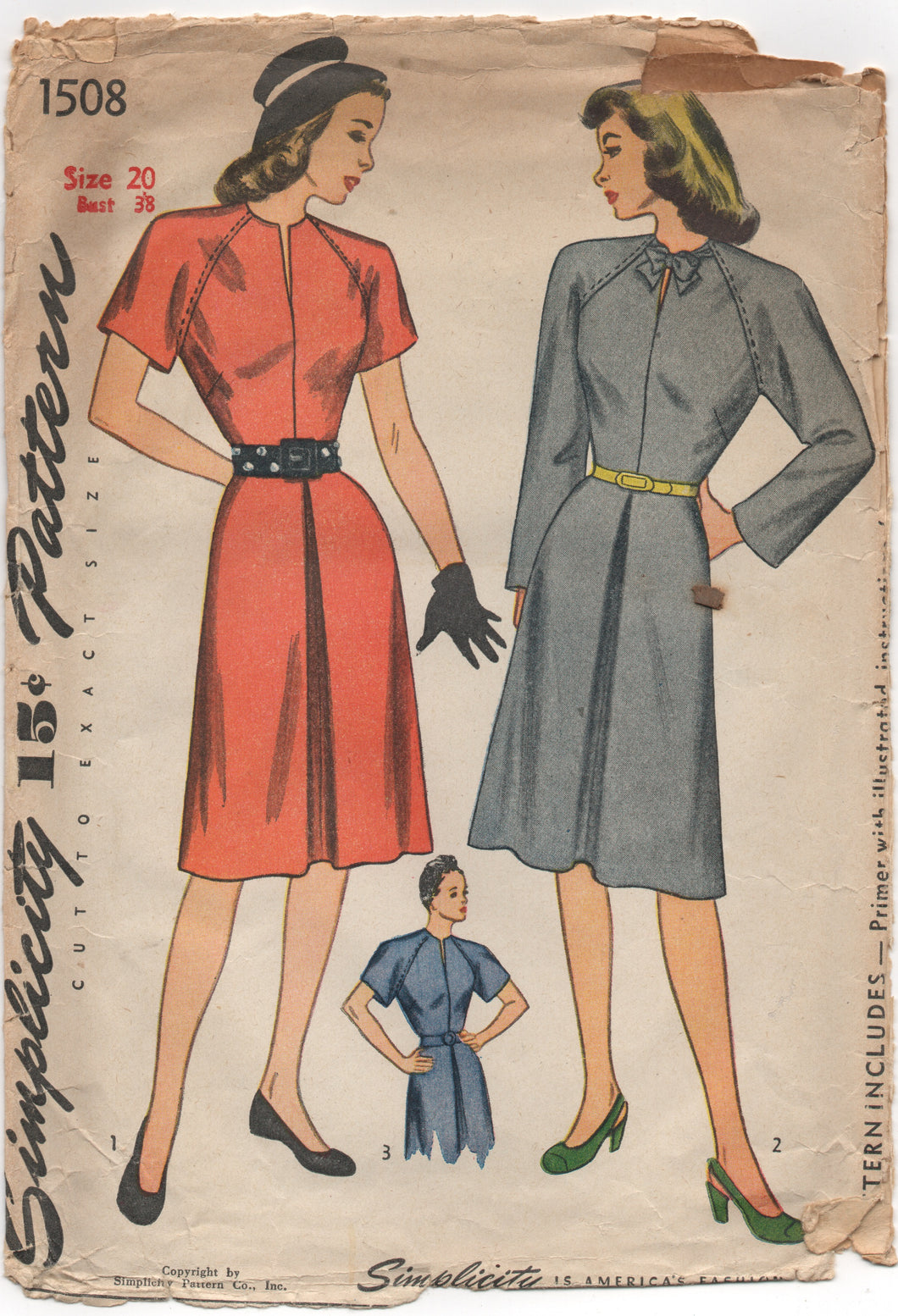 1940's Simplicity One Piece Dress with clean lines and bow detail - Bust 38
