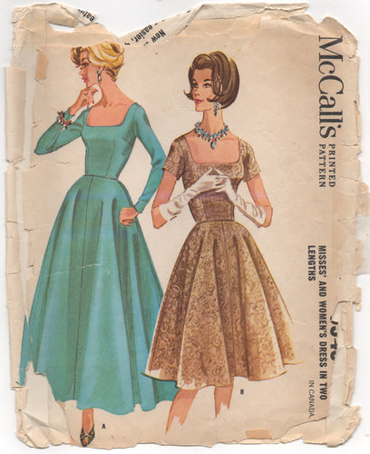 "1960's McCall's One Piece Maxi or Midi dress with Scoop Neckline - Bust 36"" - No. 5949"