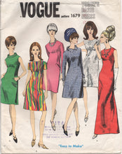 "1960's Vogue Basic One Piece Shift Dress in Mini or Maxi Length - Bust 32"" - No. 1679"