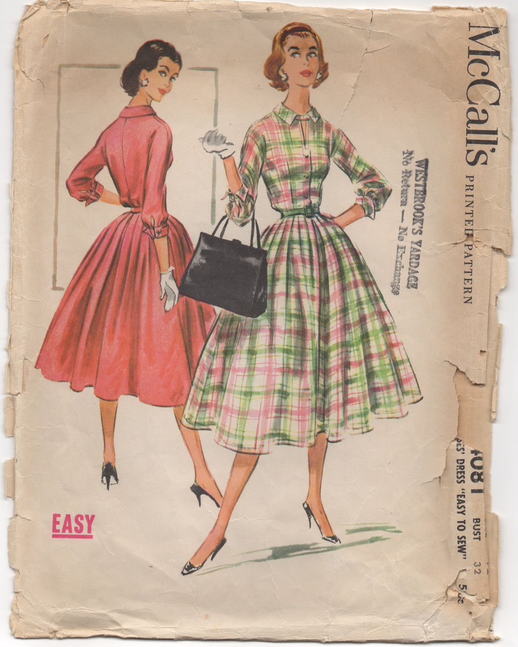 1950's McCall's Shirt Waist Dress with Tab detail at collar - Bust 32