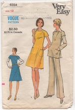 "1970's Vogue Semi-fitted Dress, Tunic, Blouse and Pants - Bust 34"" - No. 8354"