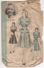 "1940's Hollywood One Piece Dress with Square Collar and Ruffles - Bust 34"" - No. 678"