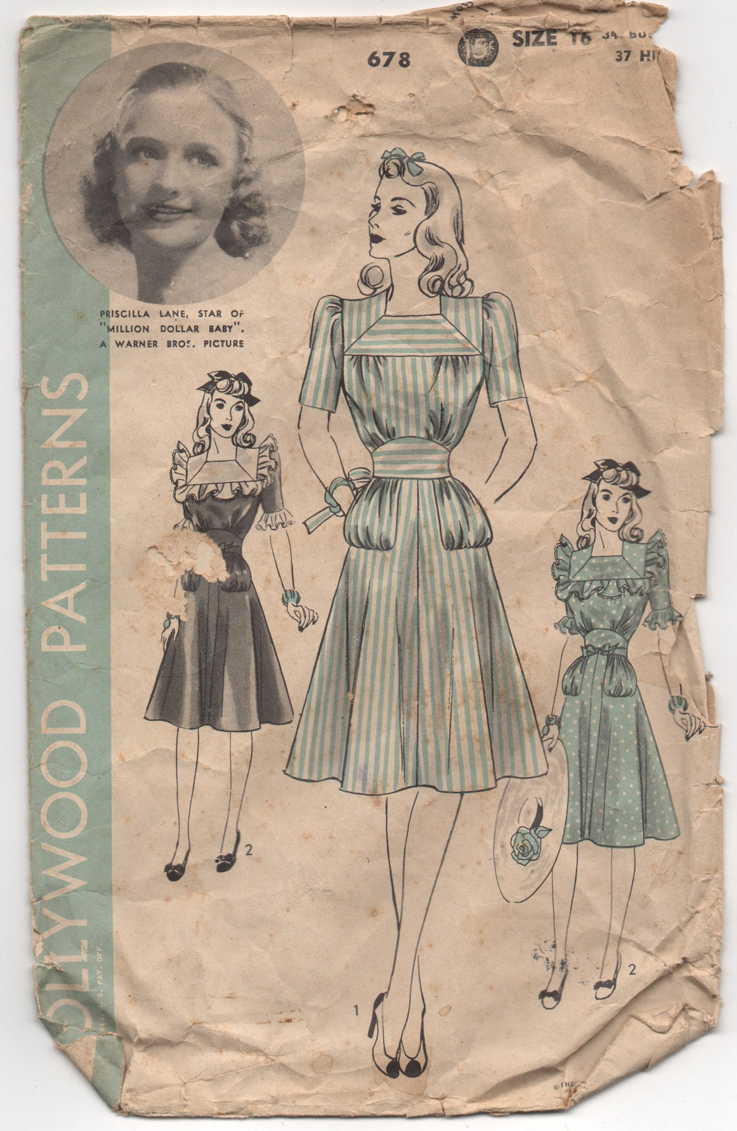 1940's Hollywood One Piece Dress with Square Collar and Ruffles - Bust 34