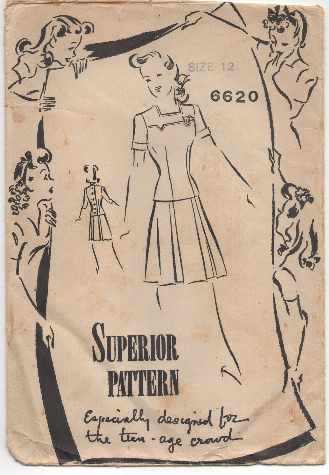 1940's Superior Two Piece Dress with Detailed Yoke - Bust 30