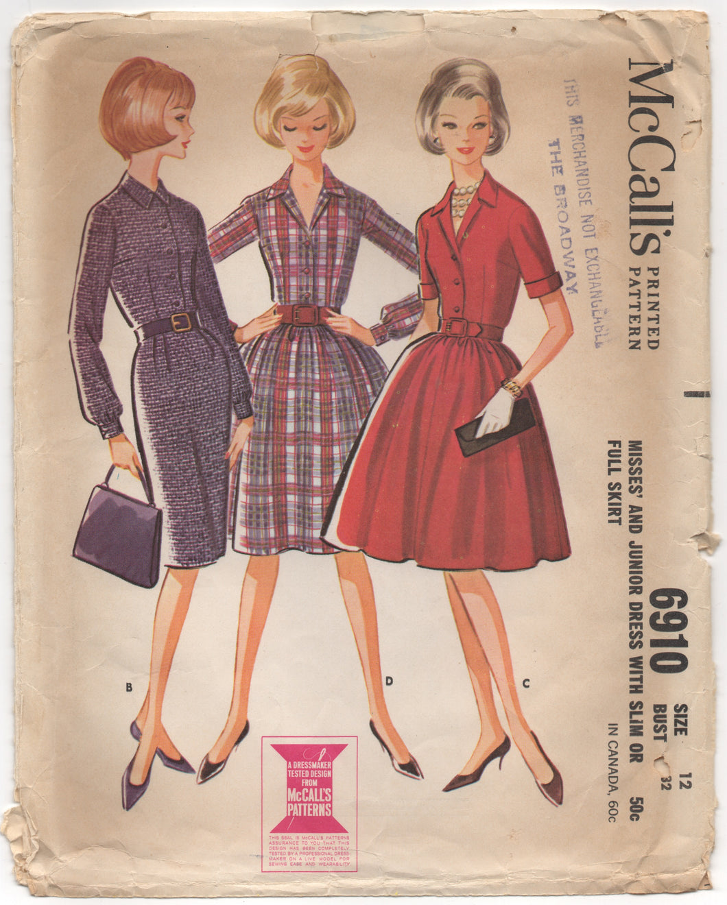 1960's McCall's Shirtwaist Dress with Slim or Full Skirt - Bust 32