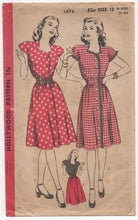 "1940's Hollywood One Piece Dress with Sweetheart neckline - Bust 30"" - No. 1575"